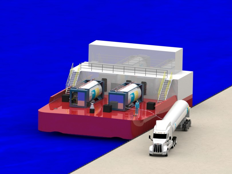 LNG tanker fueling tug